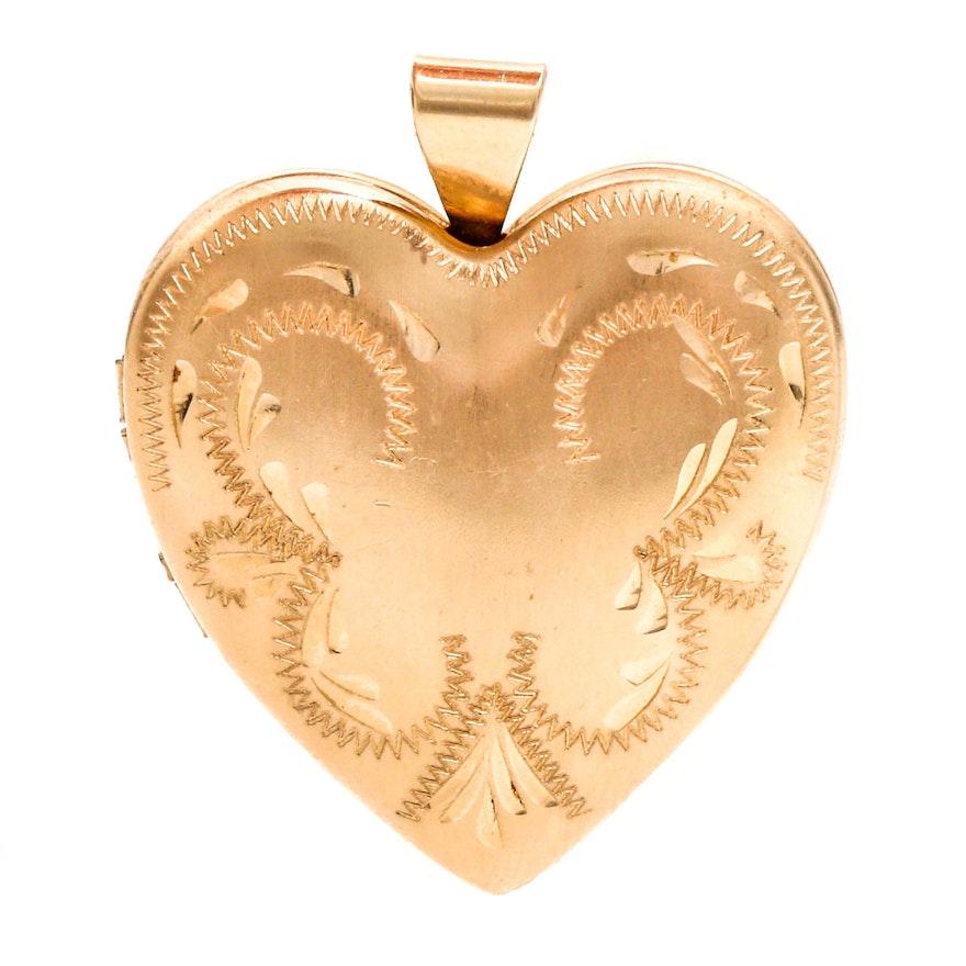 14k yellow gold heart locket pendant ebth 14k yellow gold heart locket pendant mozeypictures Images