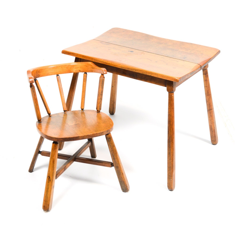 Child's Wooden Table and Chair