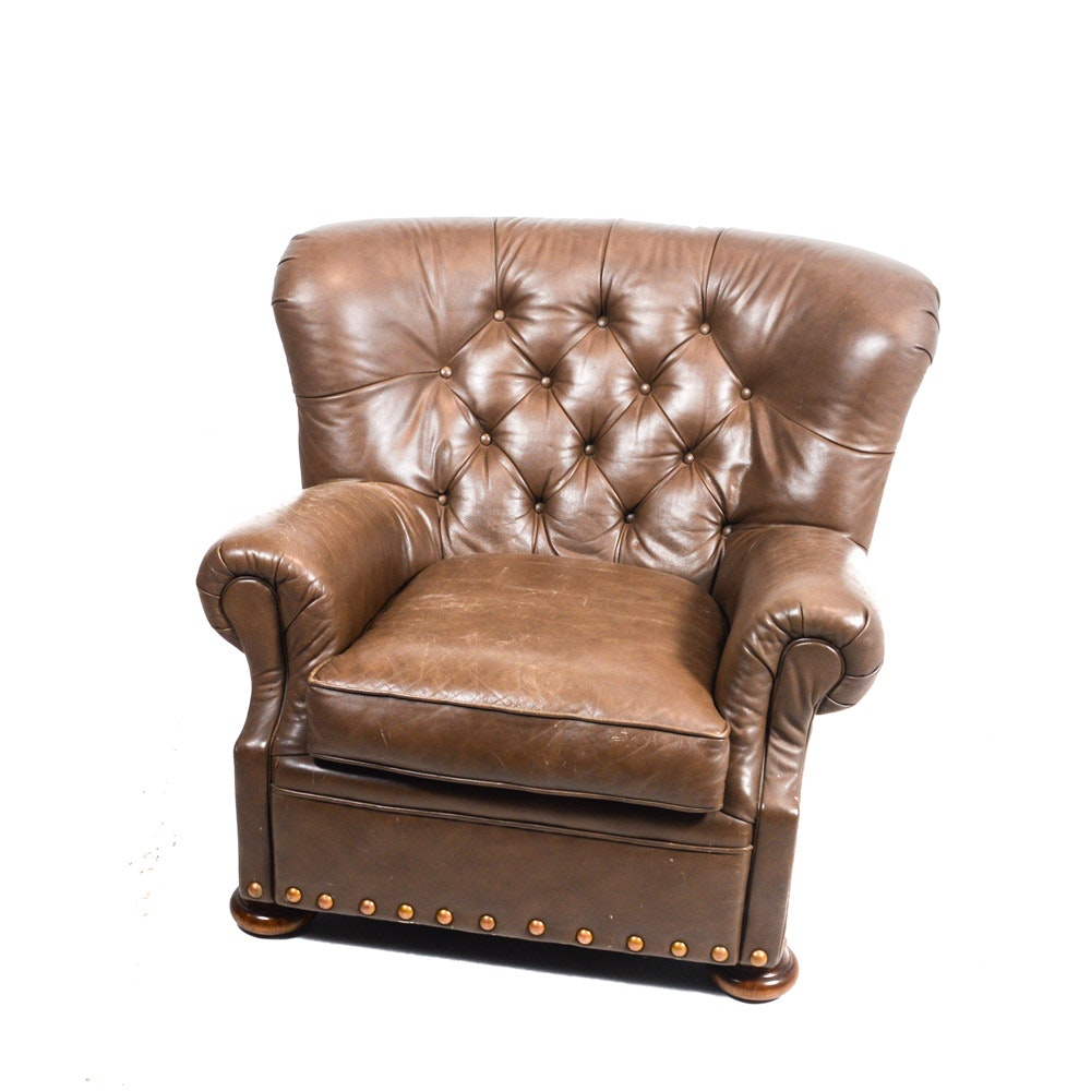 Sealy Chocolate Brown Leather Club Chair