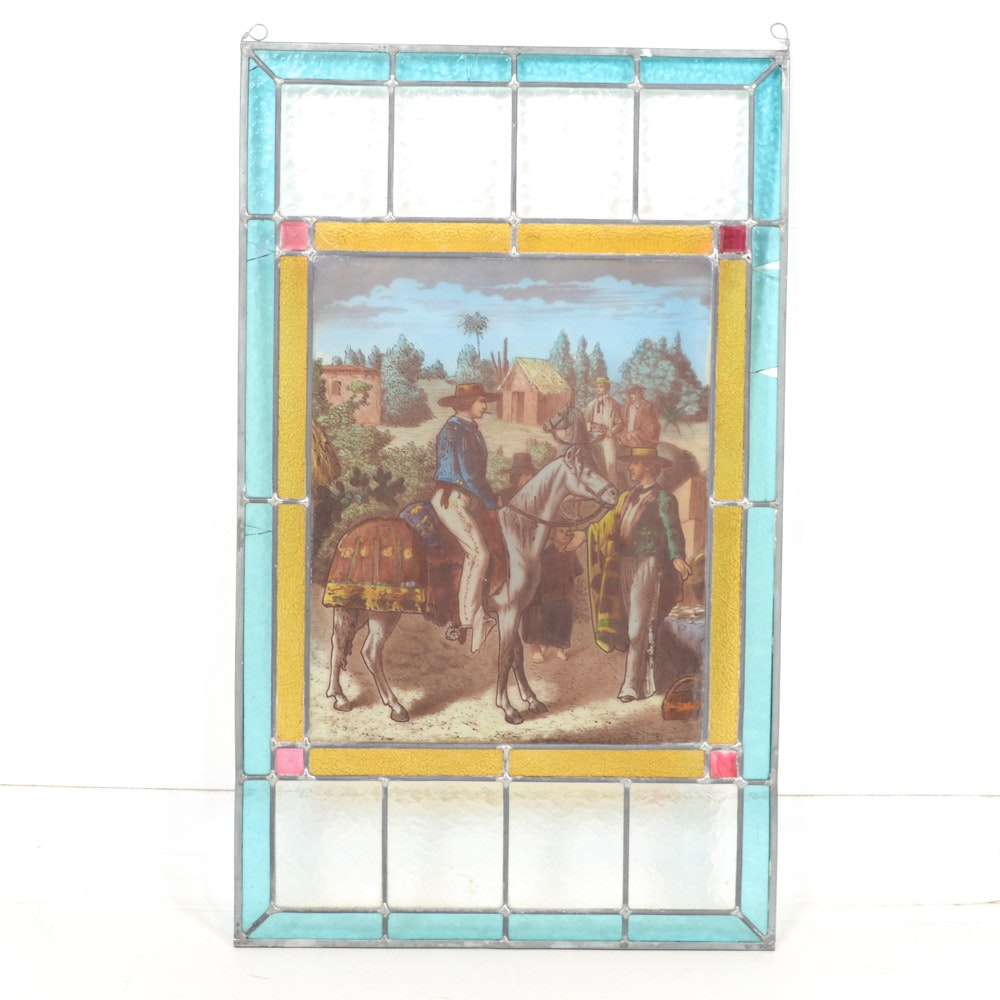Leaded Glass Panel with Reverse Painted Southwestern Scene