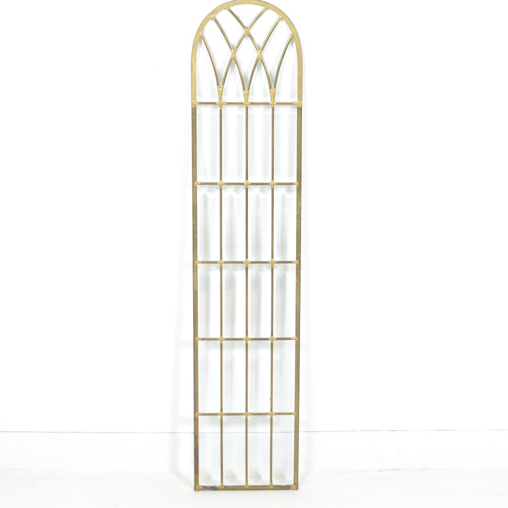 Brass and Beveled Glass Arched Panel