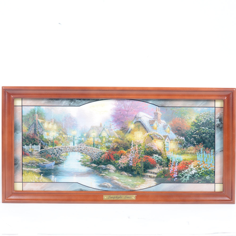 """Limited Edition """"Thomas Kinkade's Garden of Light"""" Stained Glass Panorama"""