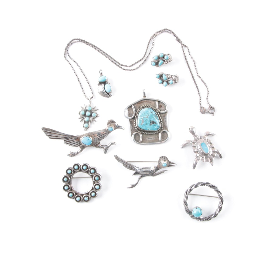 Southwestern style silver and turquoise jewelry ebth for Southwestern silver turquoise jewelry