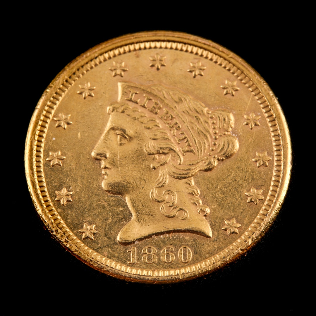 1860 Liberty Head $2.50 Gold Quarter Eagle, New Reverse Variety