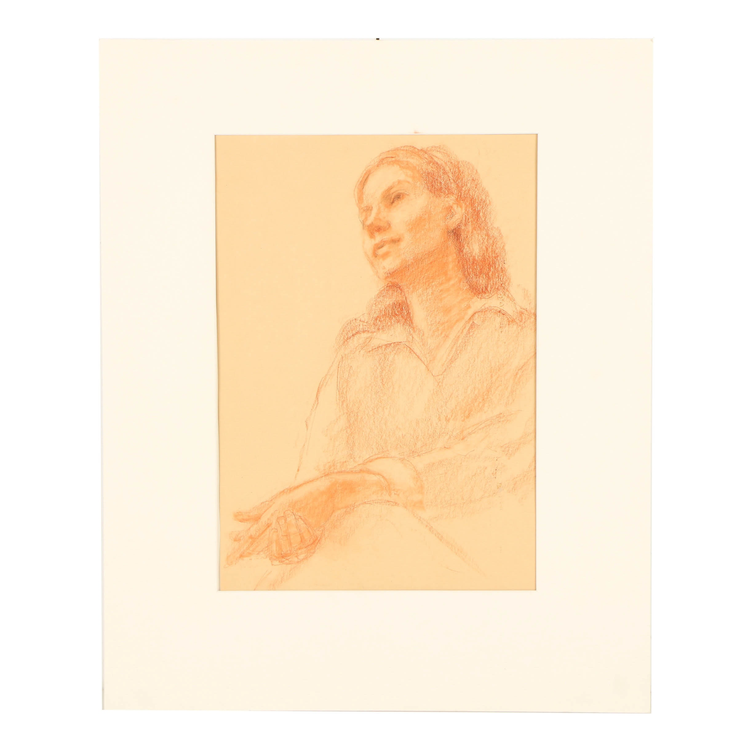 "Edna Lawrence Conté Crayon Drawing ""Woman in Flesh Tones"""