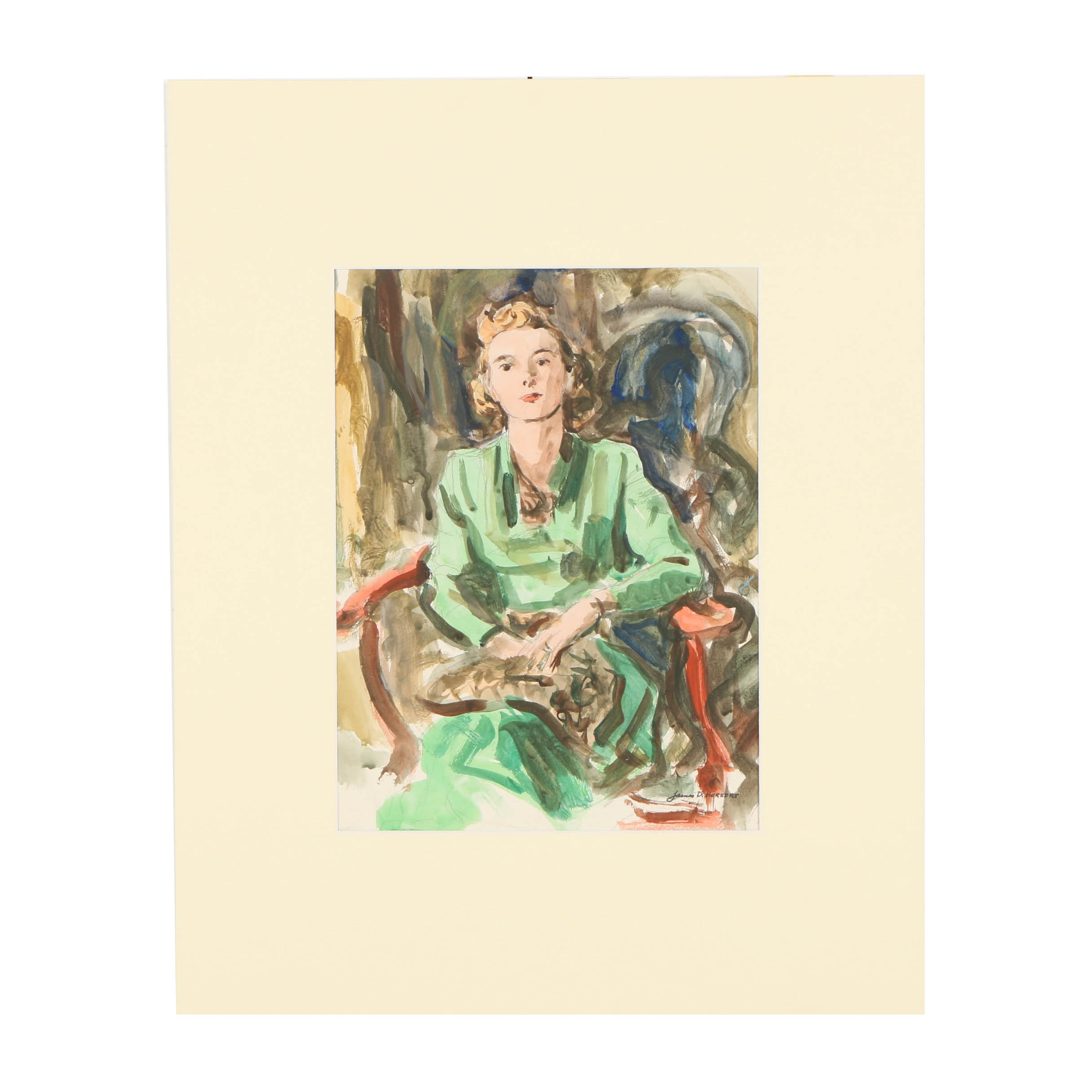 "James Herbert Watercolor Painting ""Woman - Green Dress with Red Chair"""