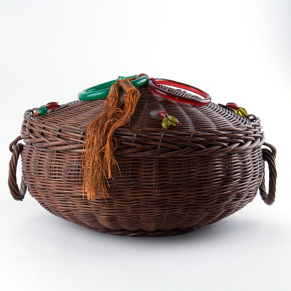 Early Chinese Wicker Sewing Basket and Notions