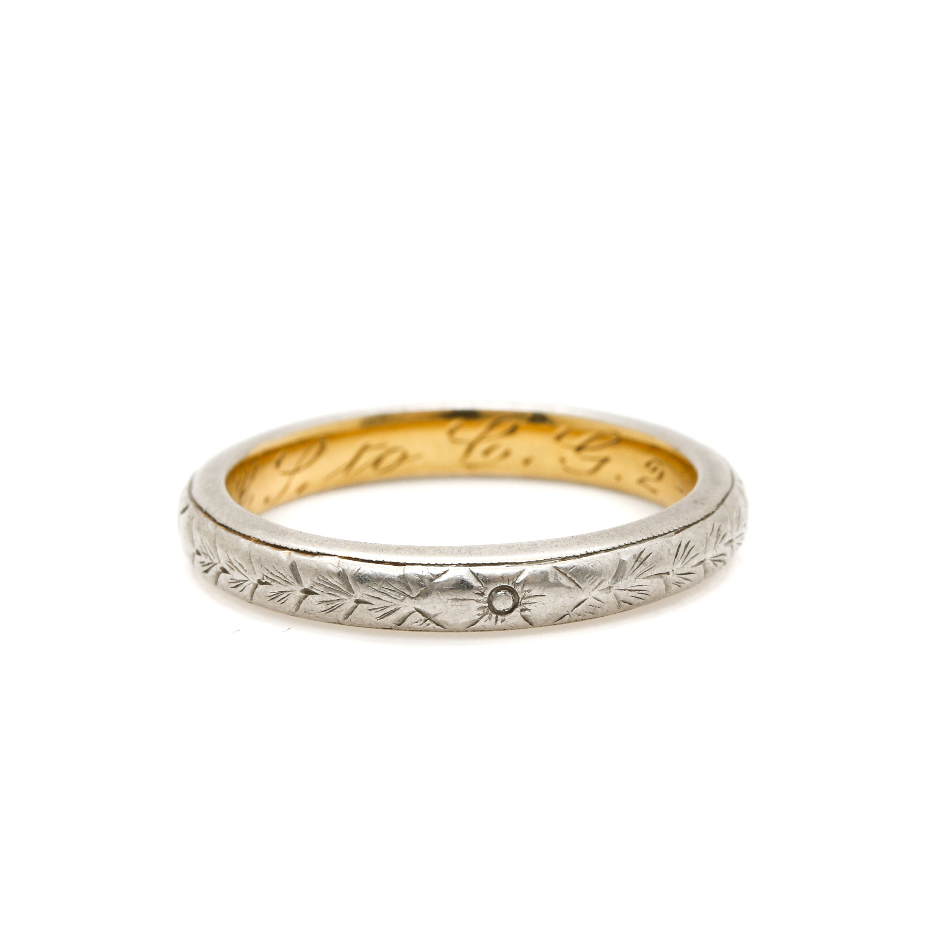 Platinum Band with 18K Yellow Gold Insert
