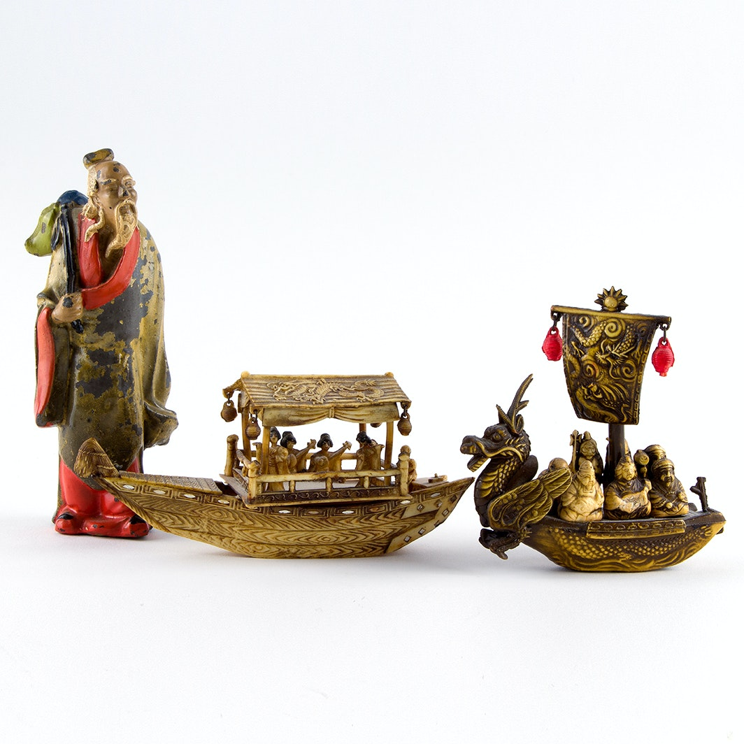 Early 20th Century Miniature Chinese Boats and Figurines