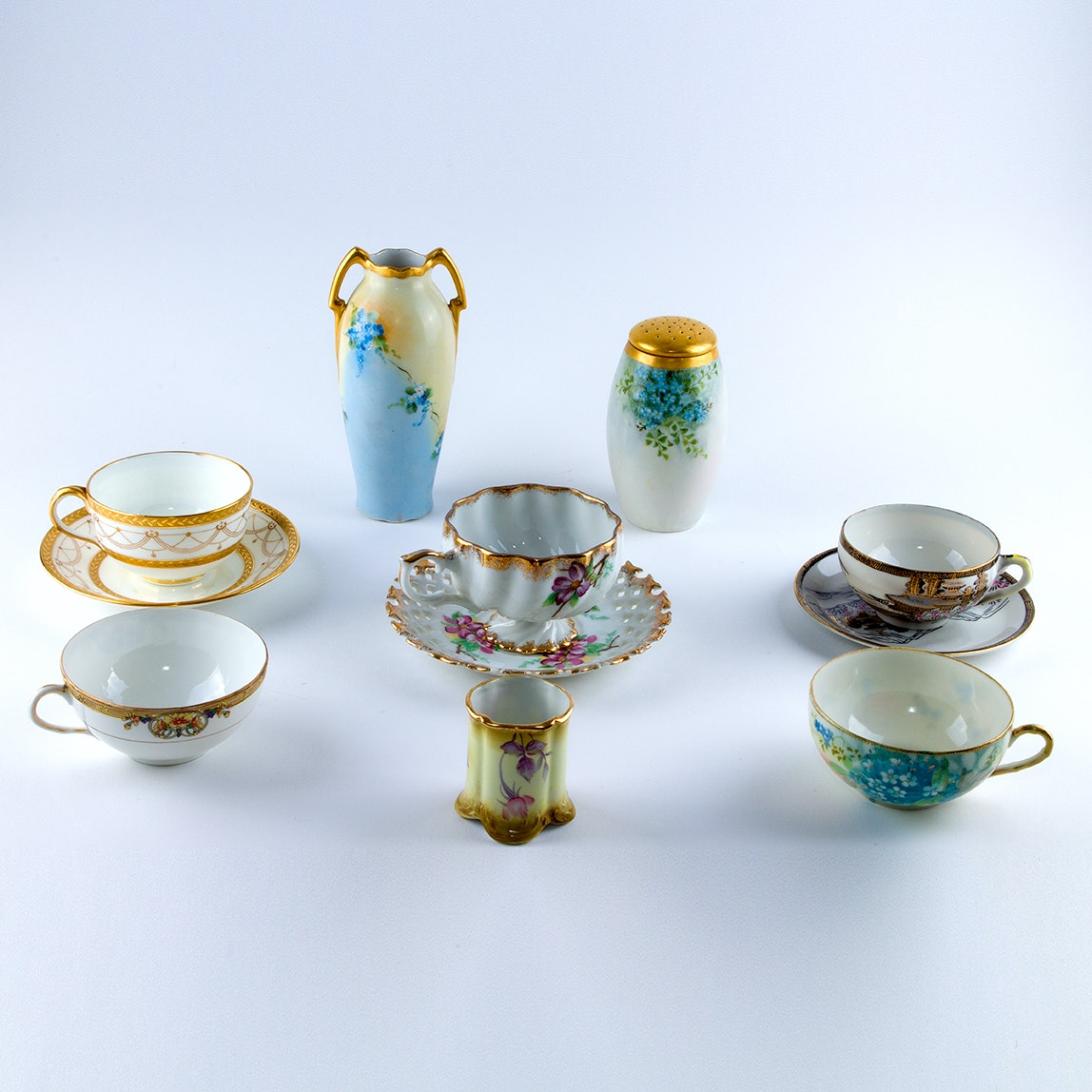 Vintage Porcelain Teacups and Tableware including Cauldon