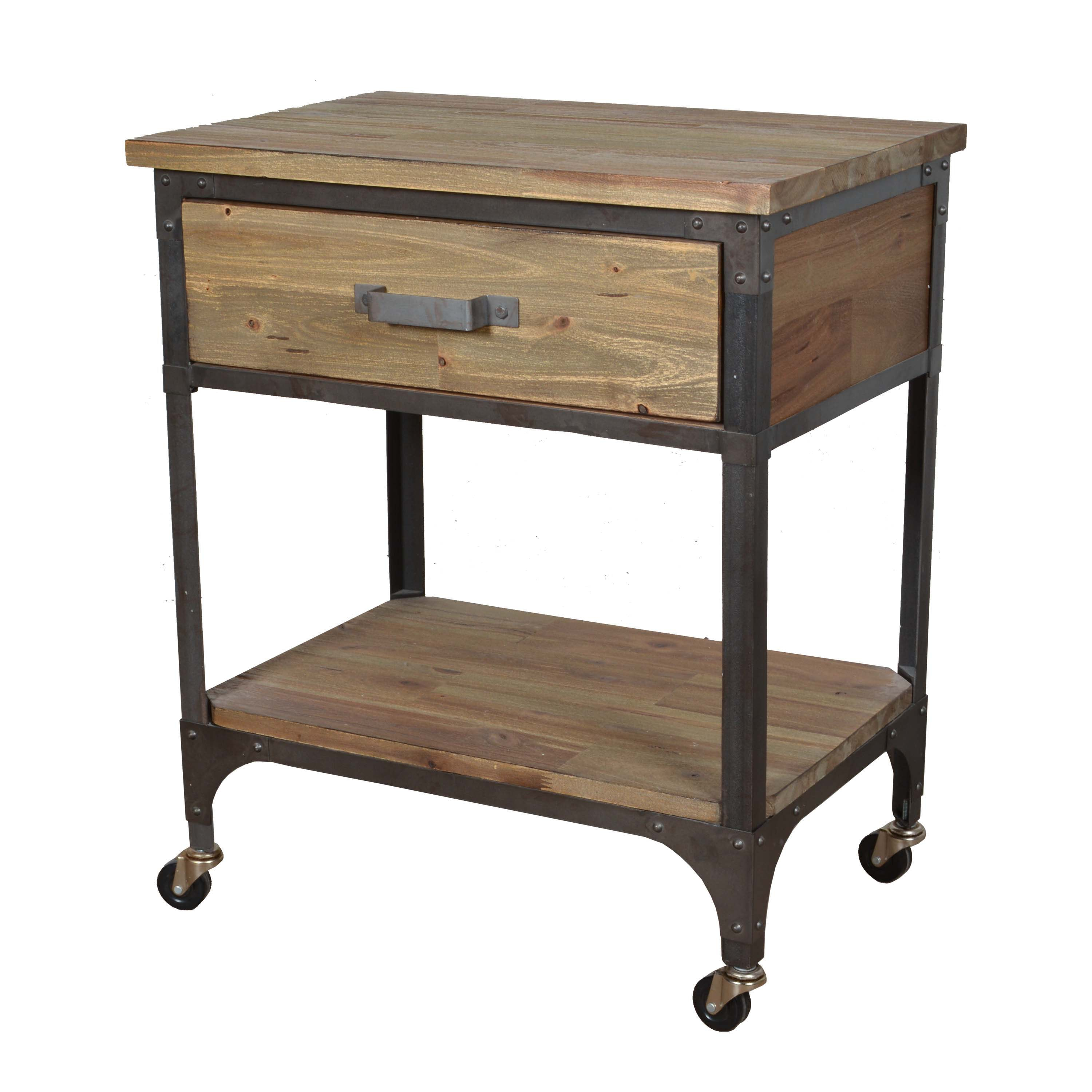 Industrial Style Rolling Side Table