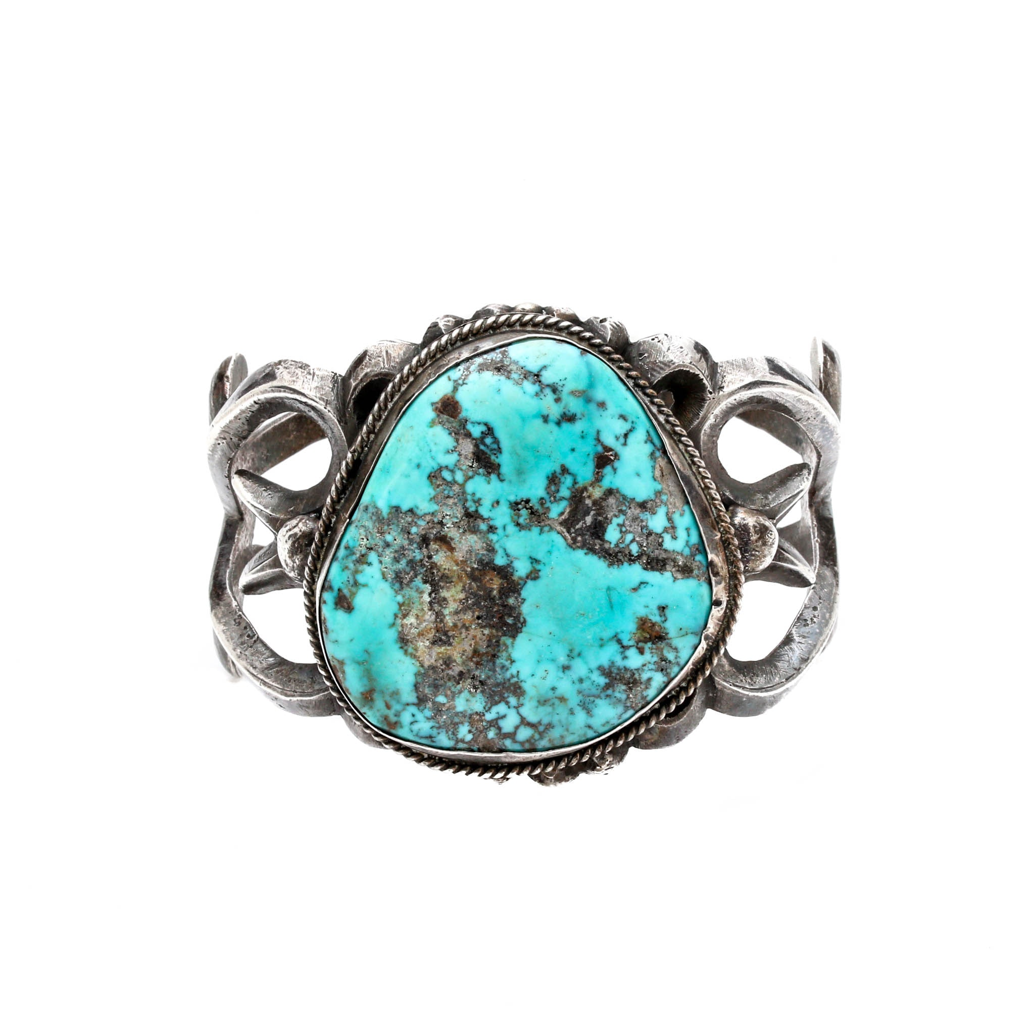 Old Pawn Style Sterling Silver Sand Cast Turquoise Cuff