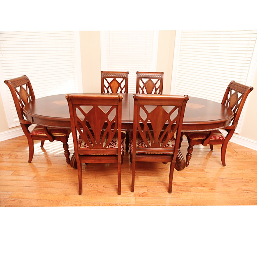 Cherry Table And Chairs: Vintage Federal Style Cherry Dining Table And Six Chairs