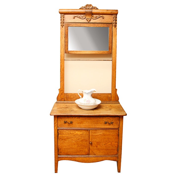 Late Victorian Oak Washstand and Mirror