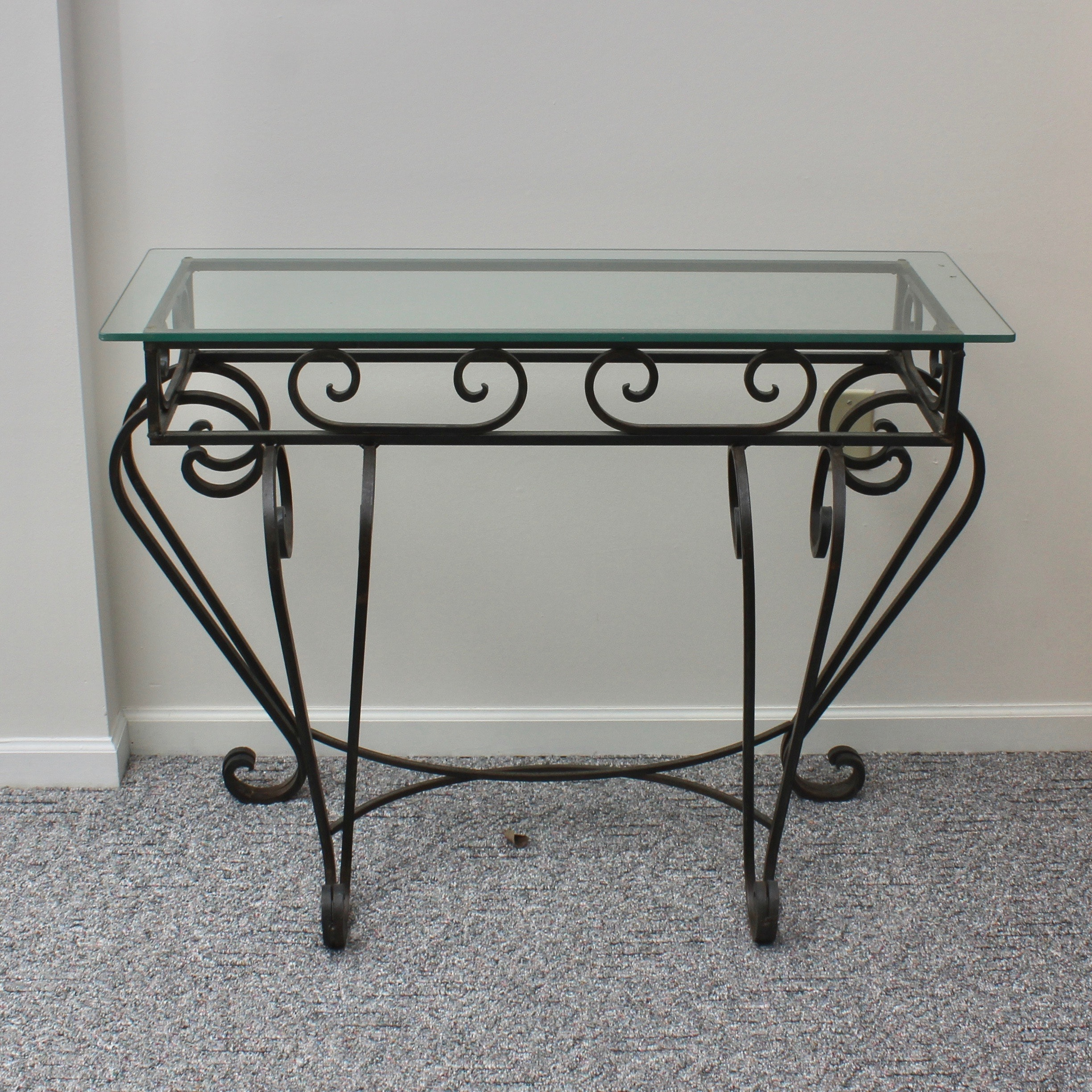 Glass Top Scrolled Console Table