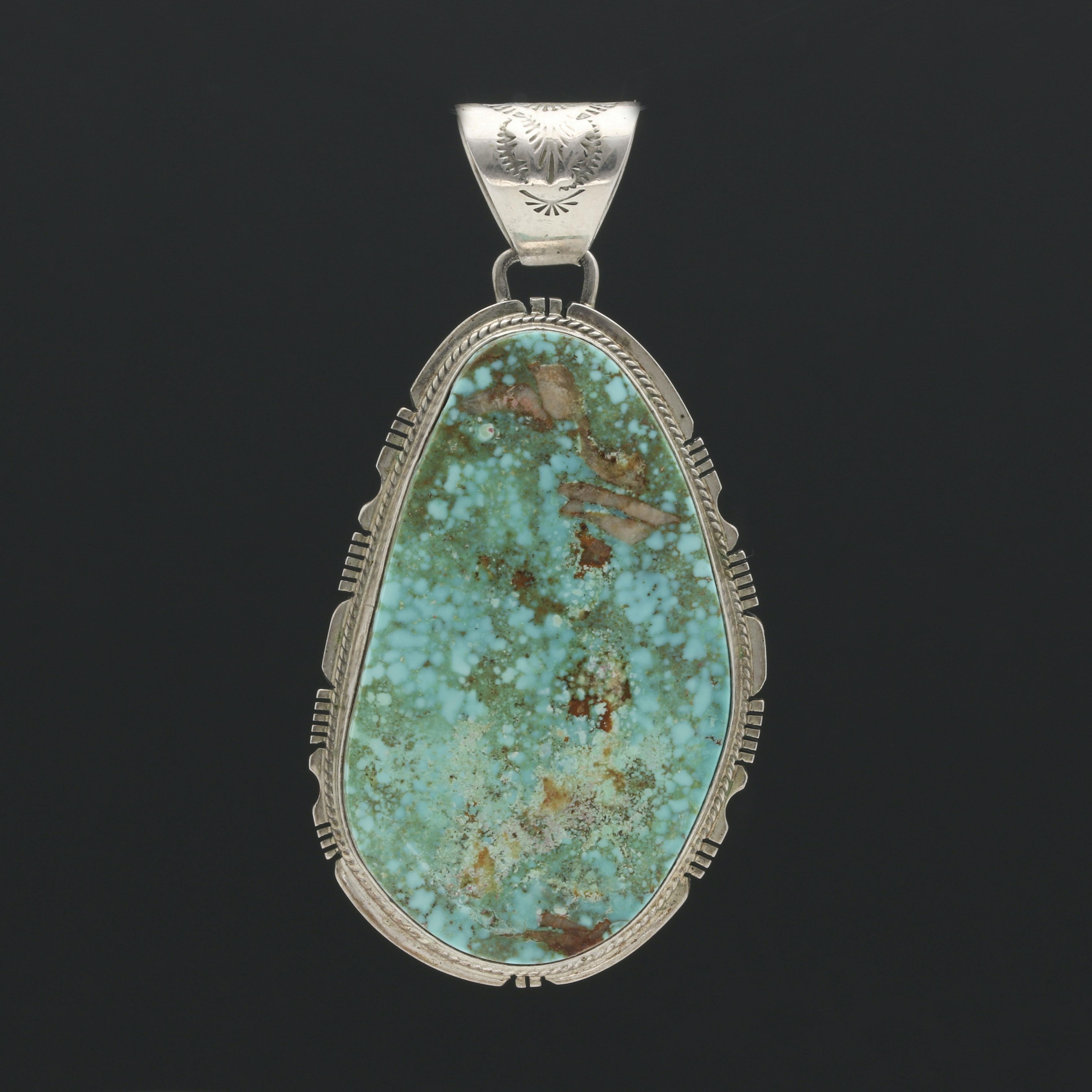 Phillip Sanchez Navajo Diné Sterling Silver Turquoise Pendant