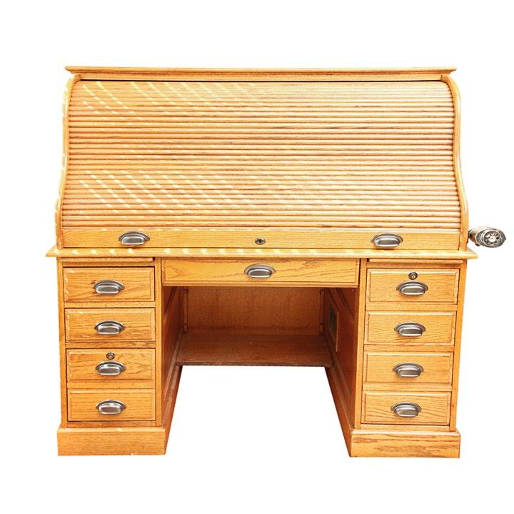 Roll-Top Oak Desk