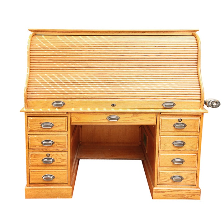 Roll-Top Oak Desk