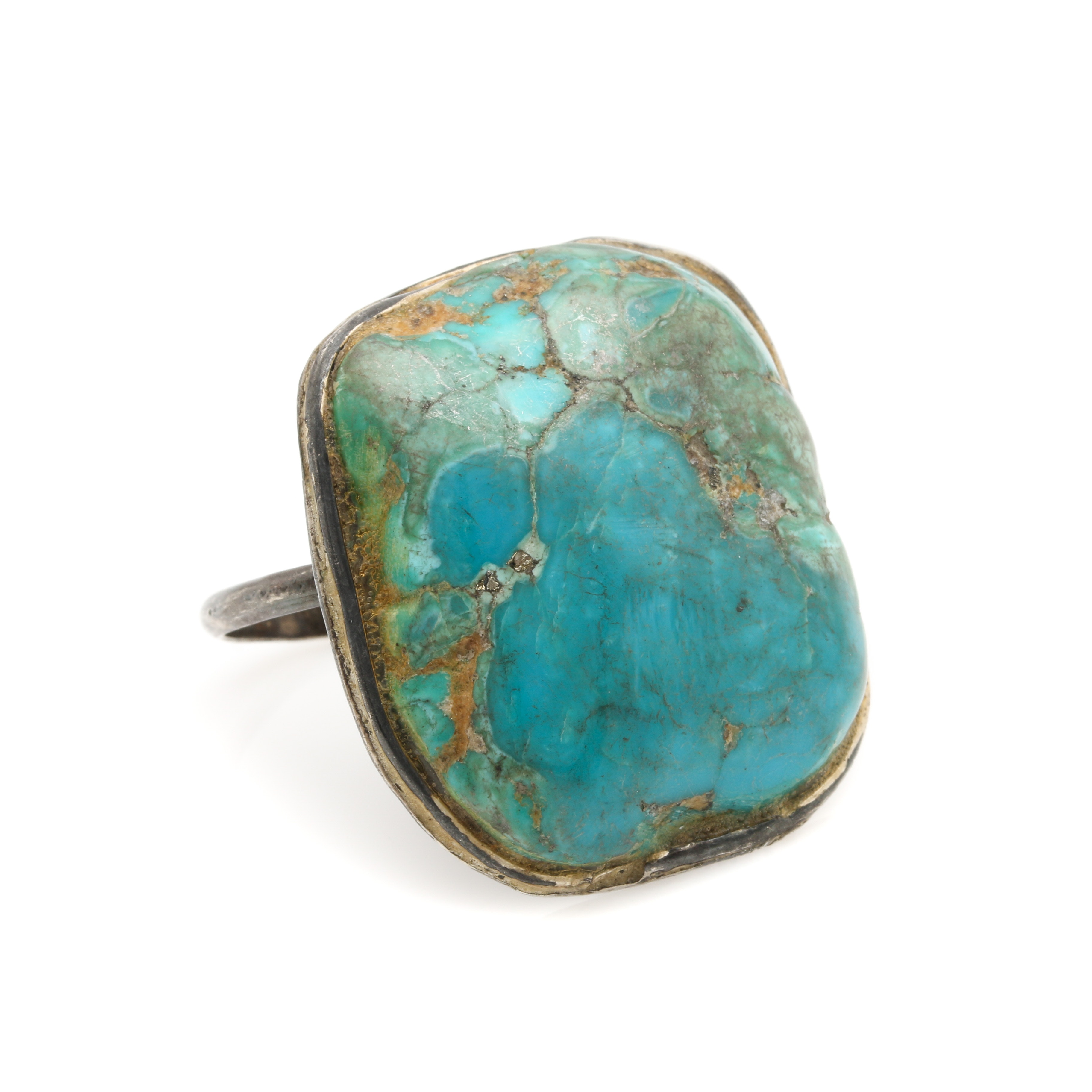 Vintage Handmade Sterling Silver Turquoise Ring