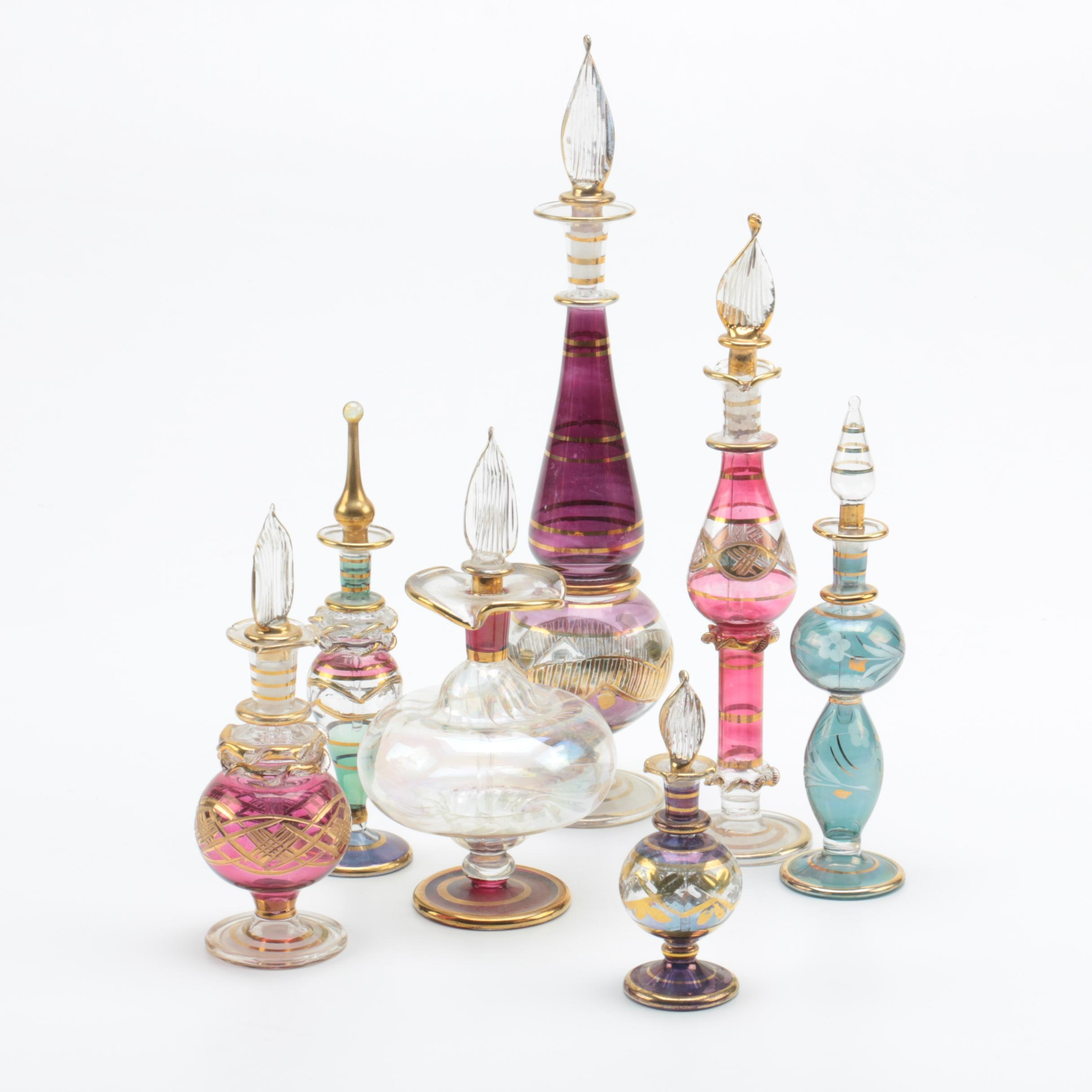 Egyptian Style Colorful Glass Perfume Bottles