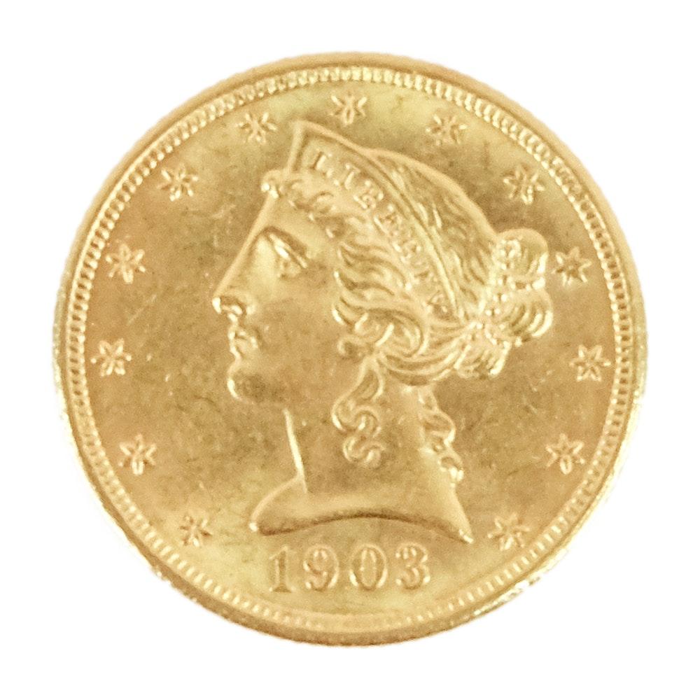 1903 Liberty Head $5 Gold Coin