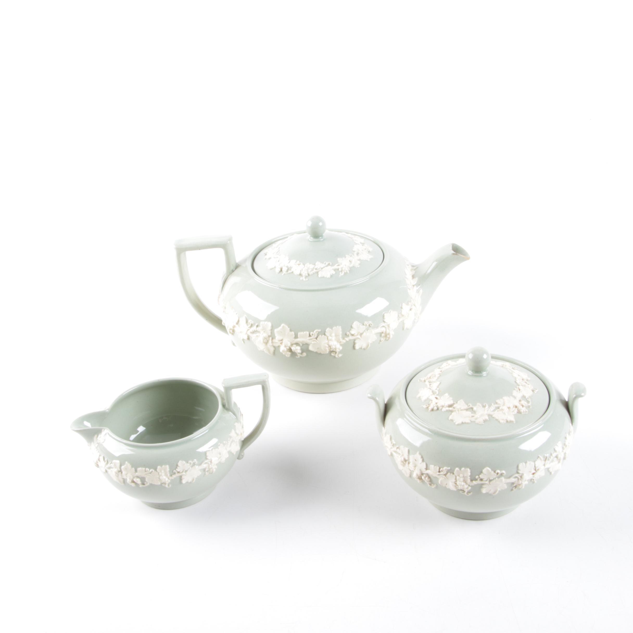 Antique Wedgwood Sage Acanthus Leaf Jasperware Tea Service