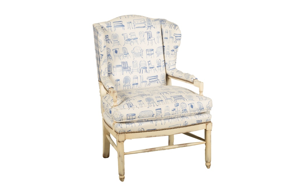 Blue and White Upholstered Wing Chair