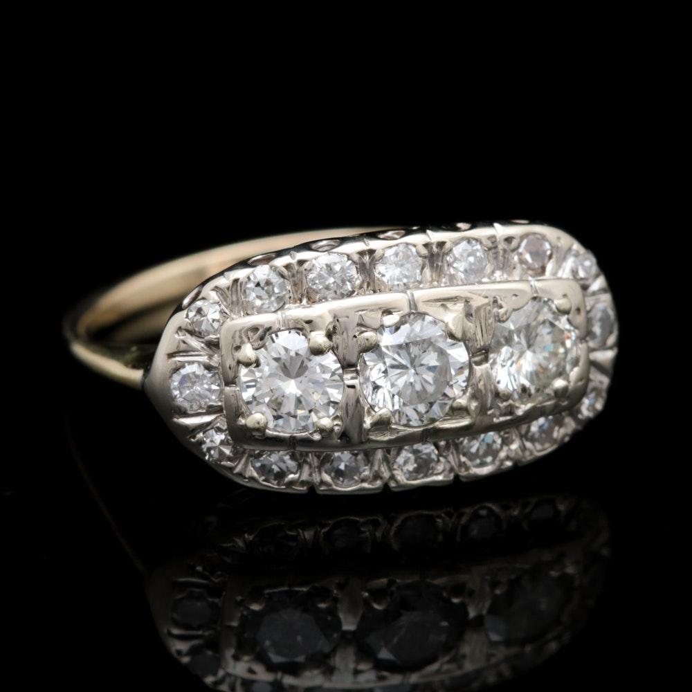 14K Two Tone Gold 1.10 CTW Diamond Ring