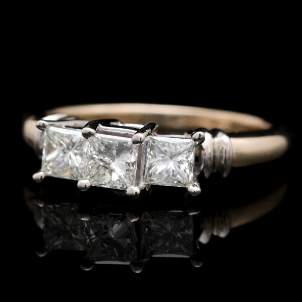 14K Yellow Gold and 1.00 CTW Princess Cut Diamond Three Stone Ring