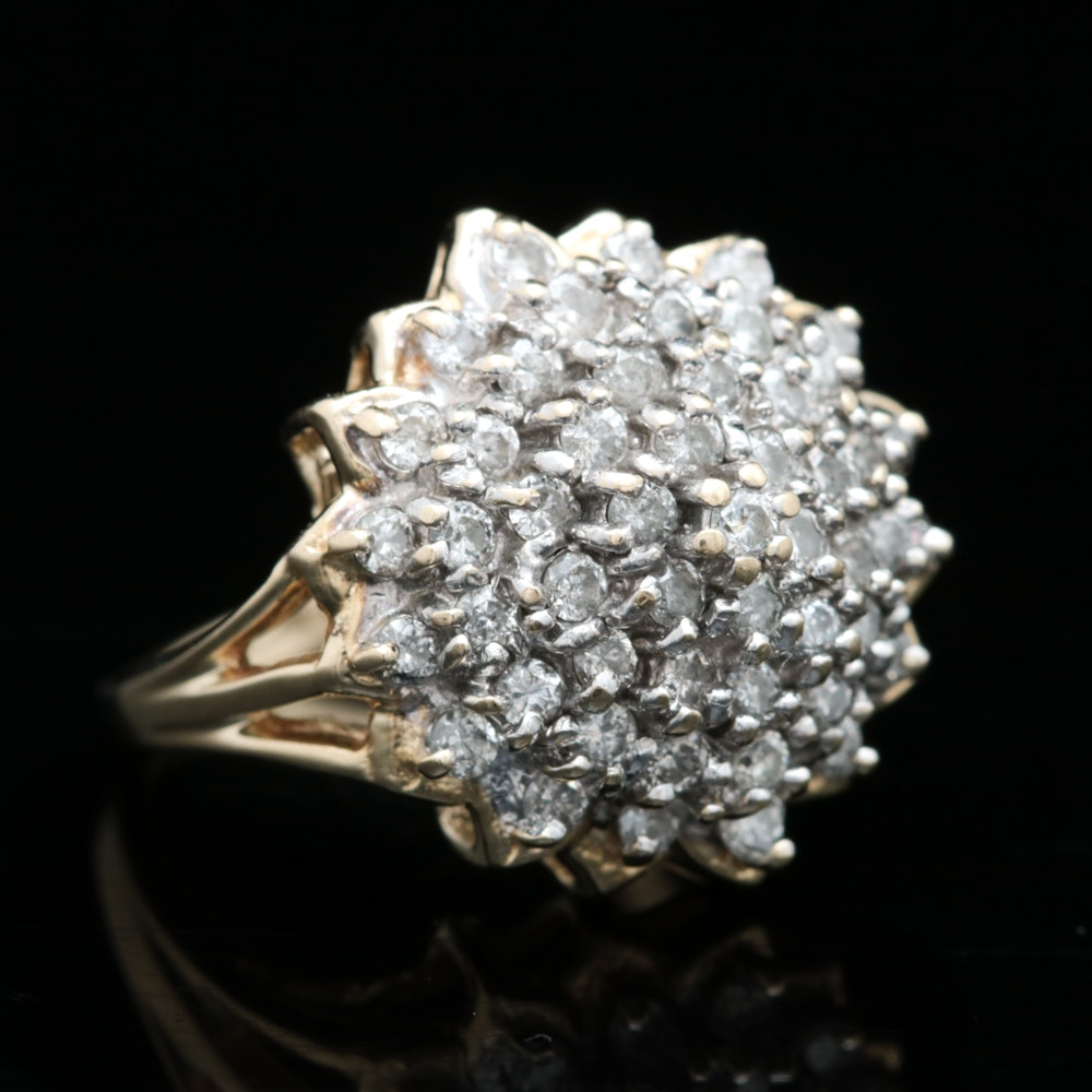 14K Yellow Gold and 1.00 CTW Diamond Cluster Ring