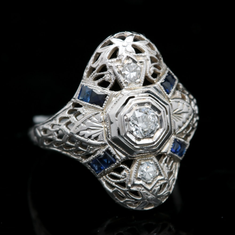 18K White Gold, Diamond and Blue Sapphire Art Deco Style Ring
