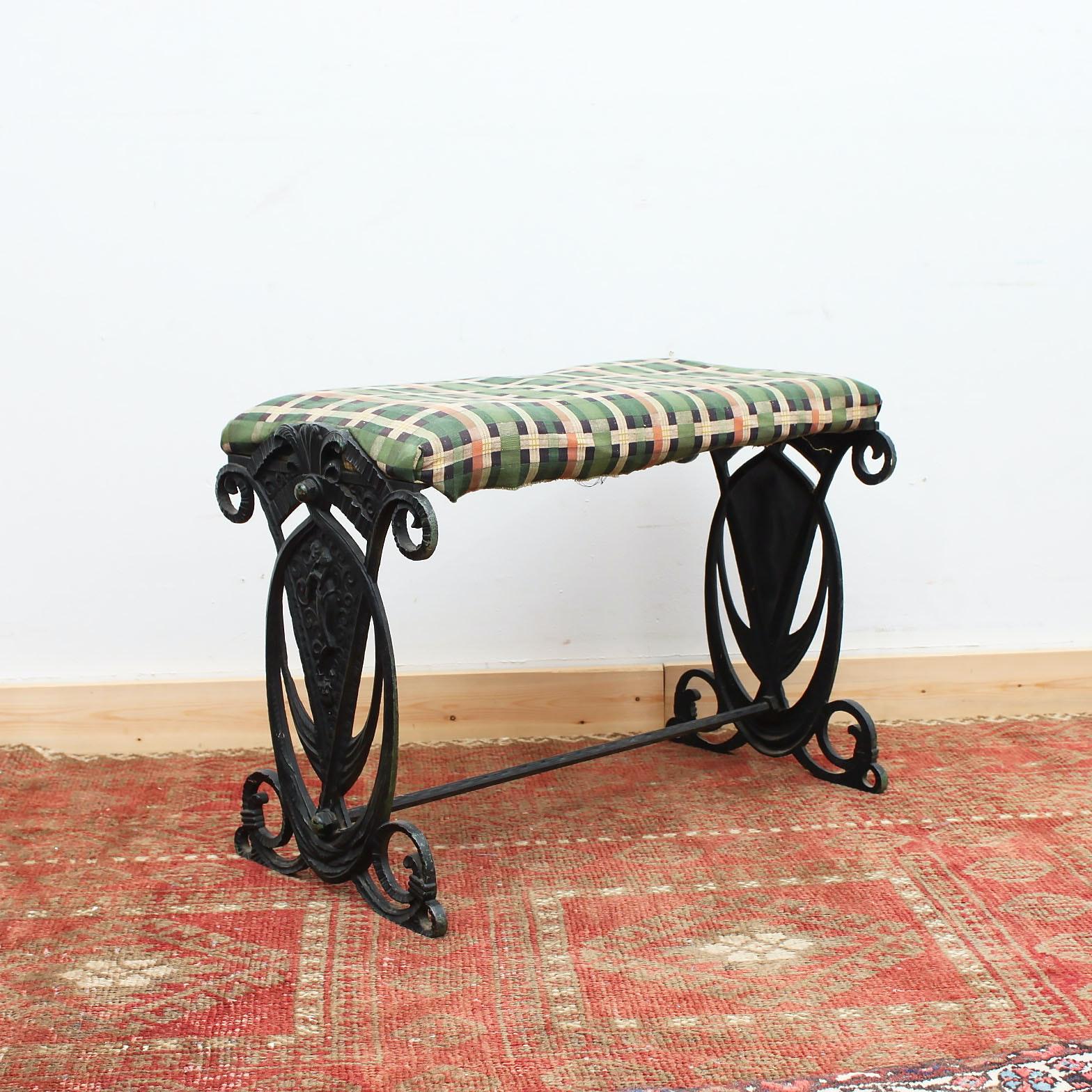 Art Nouveau Cast Iron Bench
