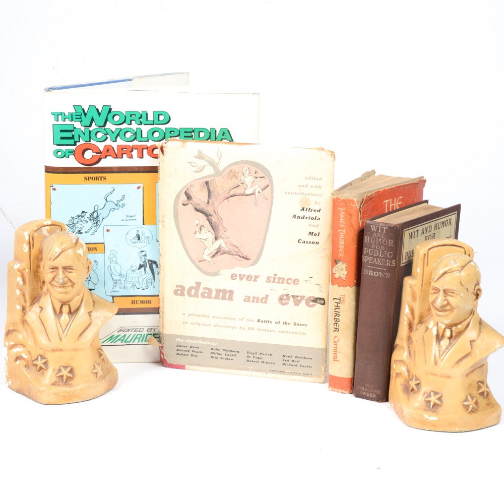 Will Rogers Bookends with Humor Books