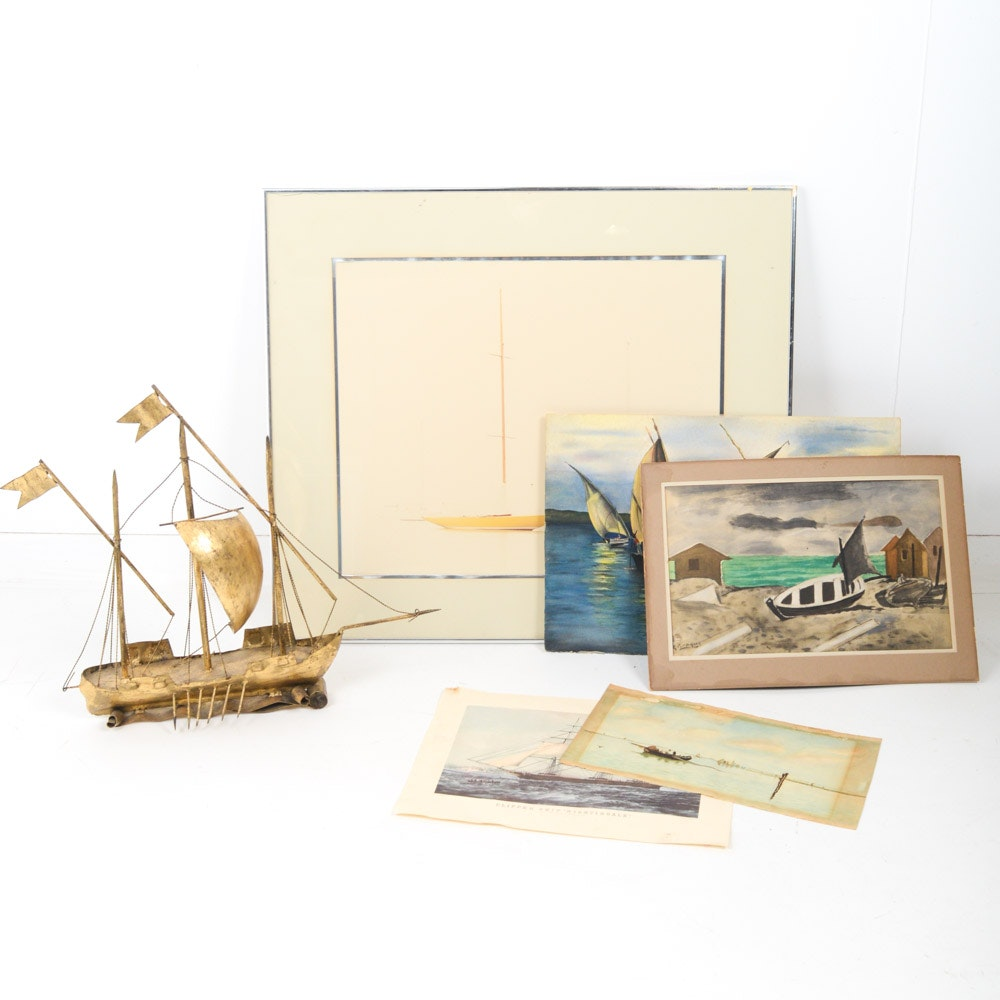 Vintage Nautical Artworks Featuring William Plante Photograph