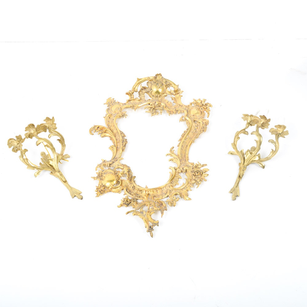 Rococo Style Mirror Frame and Sconces