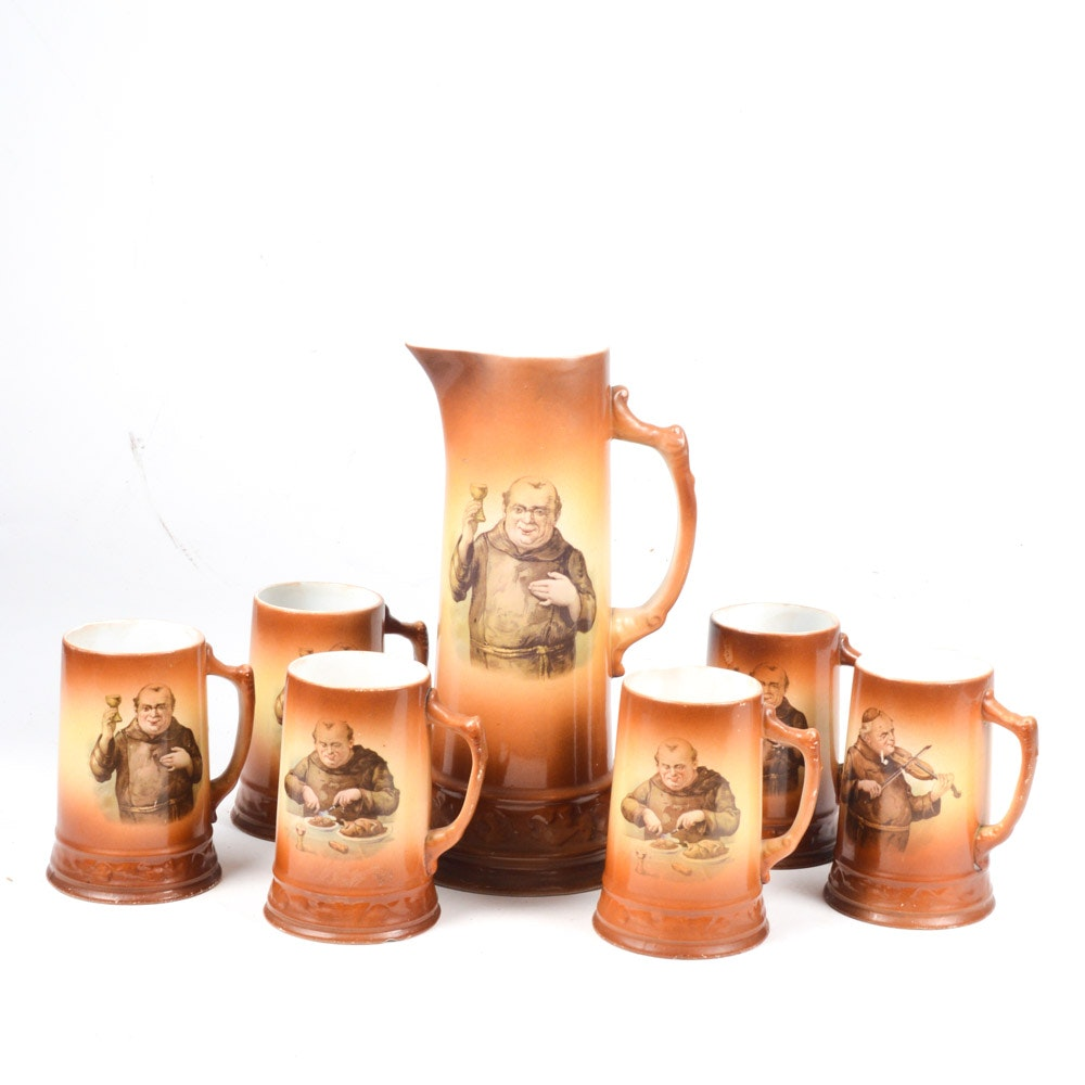 Vintage Royal Firenze China Tankard and Six Mugs