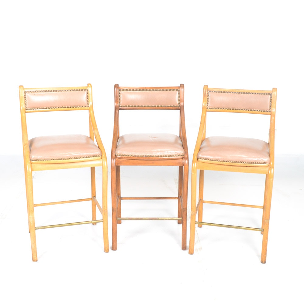 Three Bent Wood Bar Stools