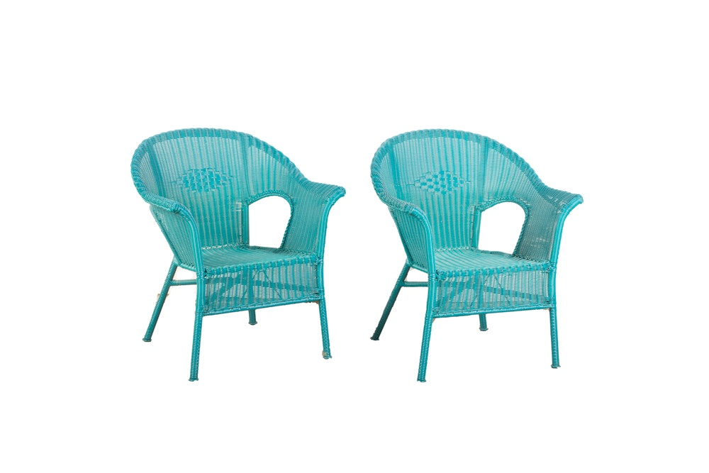 Pair of Teal Faux Wicker Woven Arm Chairs