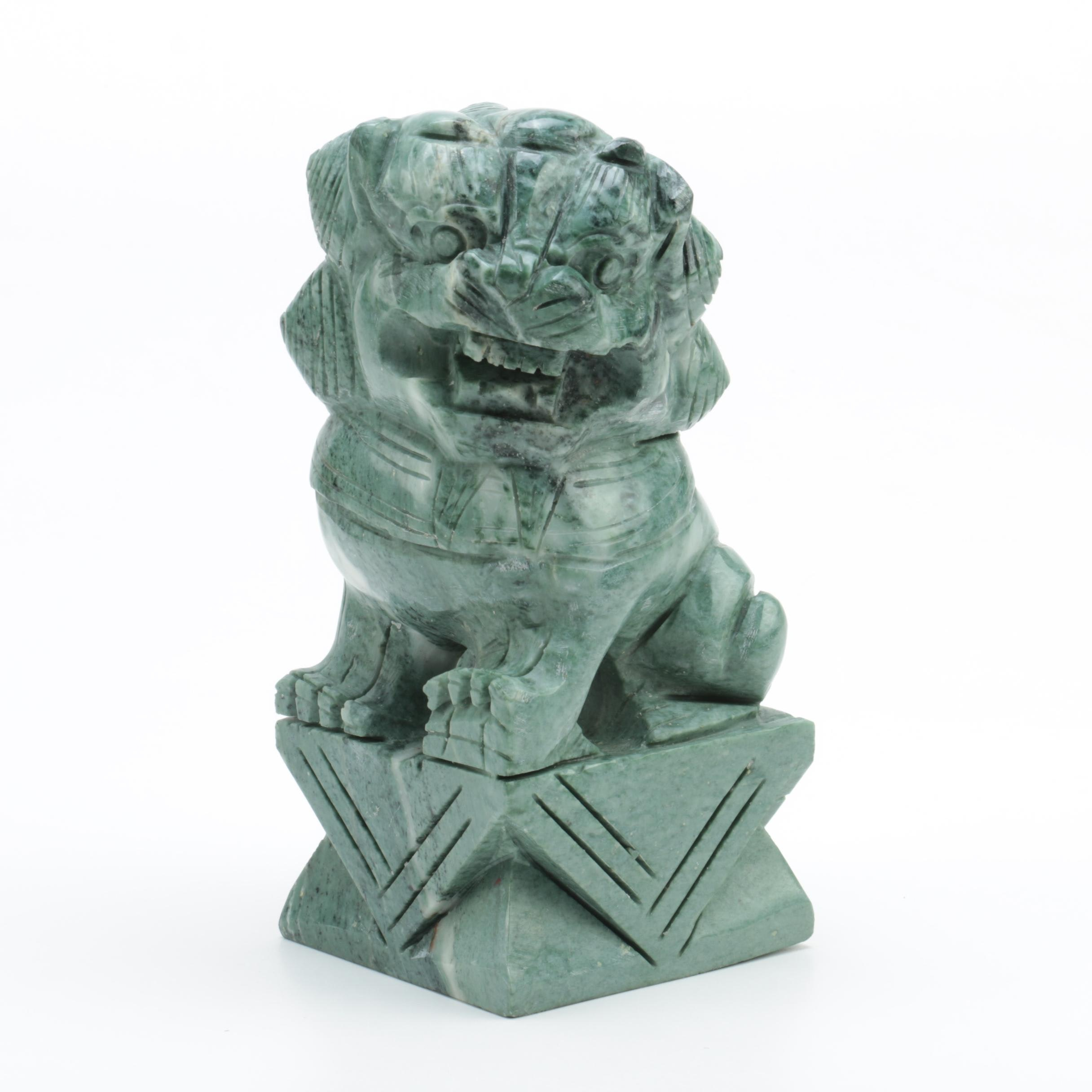 Chinese Inspired Carved Serpentine Guardian Lion