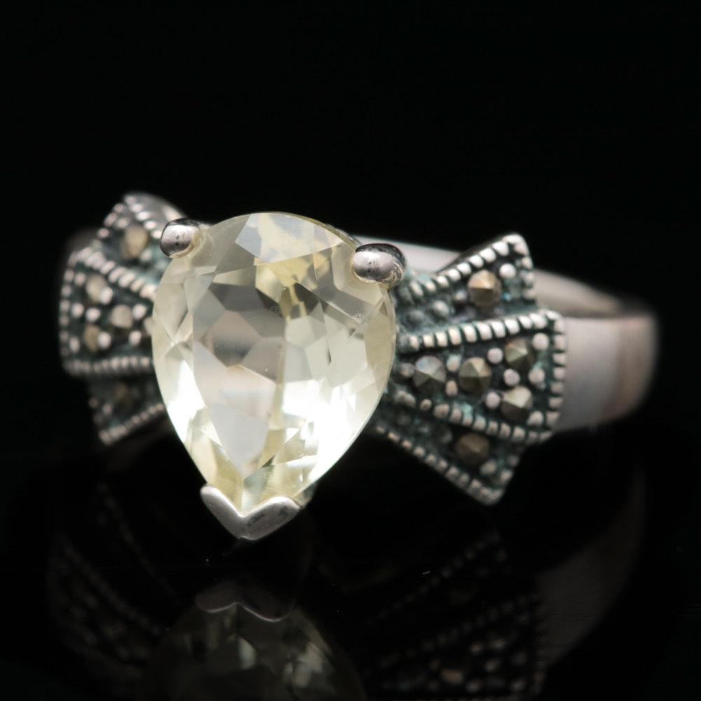 Sterling Silver, Lemon Quartz and Marcasite Ring