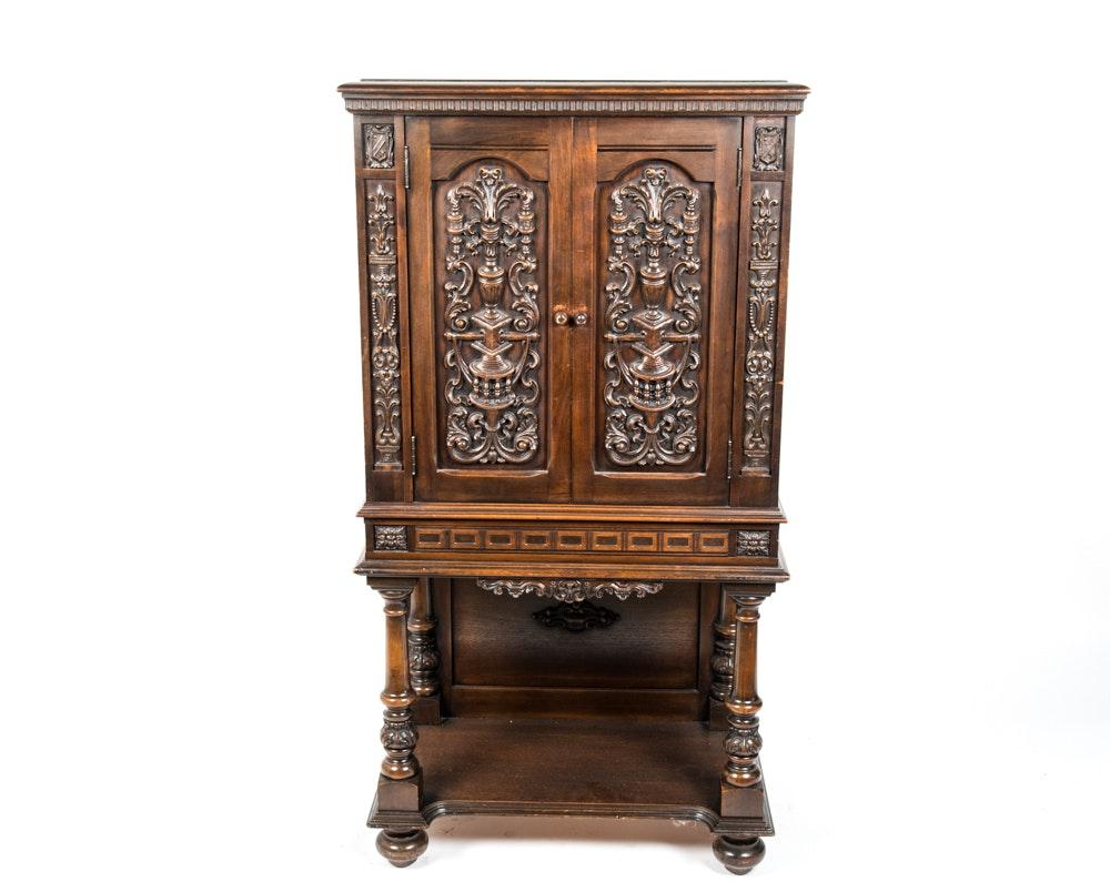 Vintage Jacobean Style Walnut Radio Cabinet