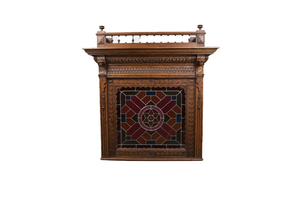 Antique Italian Renaissance Style Carved Oak Cabinet