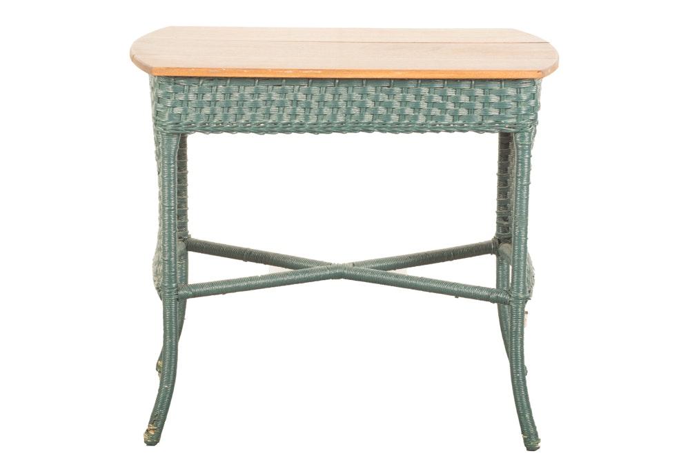 Victorian Style Oak Top Wicker Side Table
