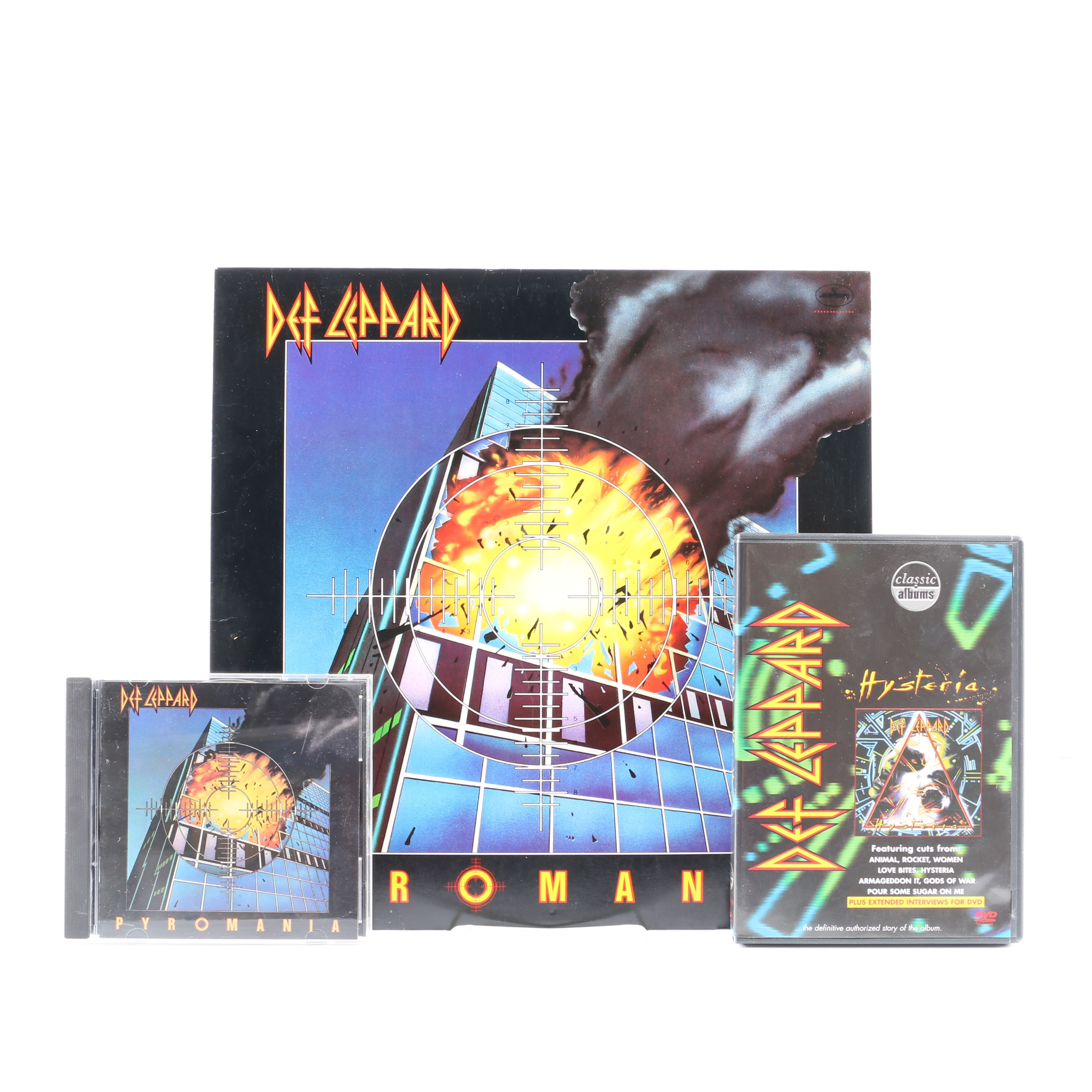 "Def Leppard ""Pyromania"" LP and CD with ""Hysteria"" Classic Albums DVD"