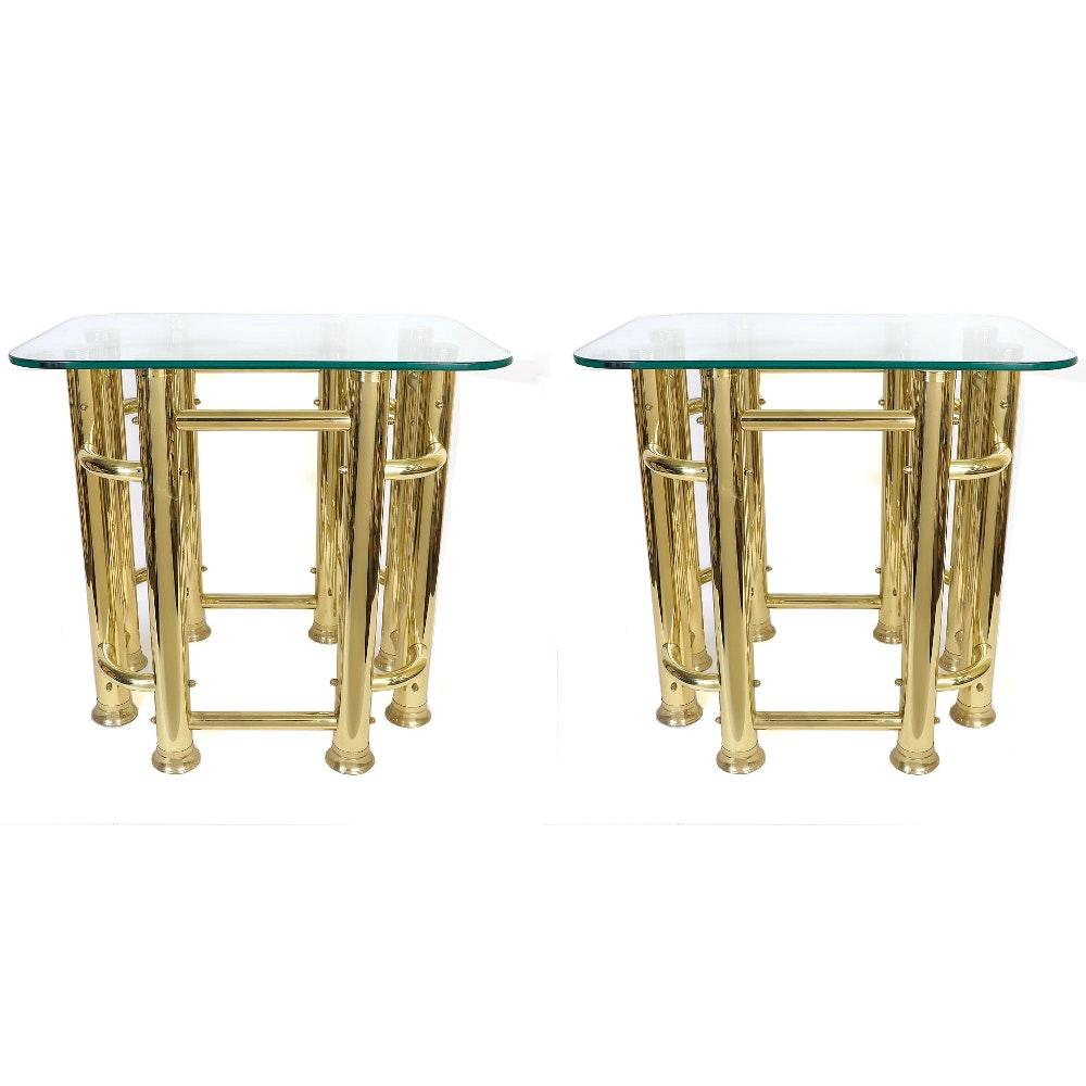 Pair of Brass Nightstands