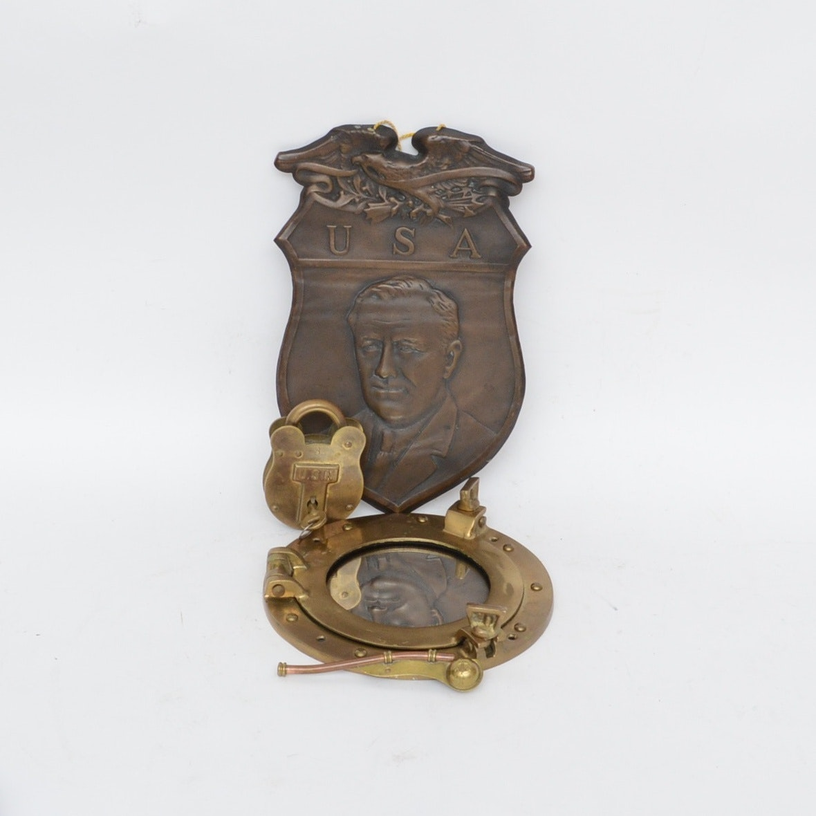 F.D.R. Copper Plaque and USN Boatswains Whistle, Lock and Mirror