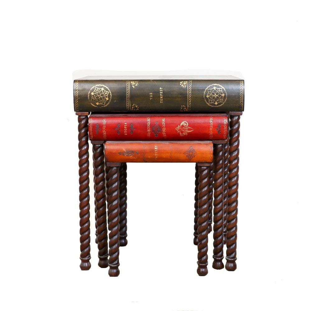 Vintage Book Motif Nesting Tables