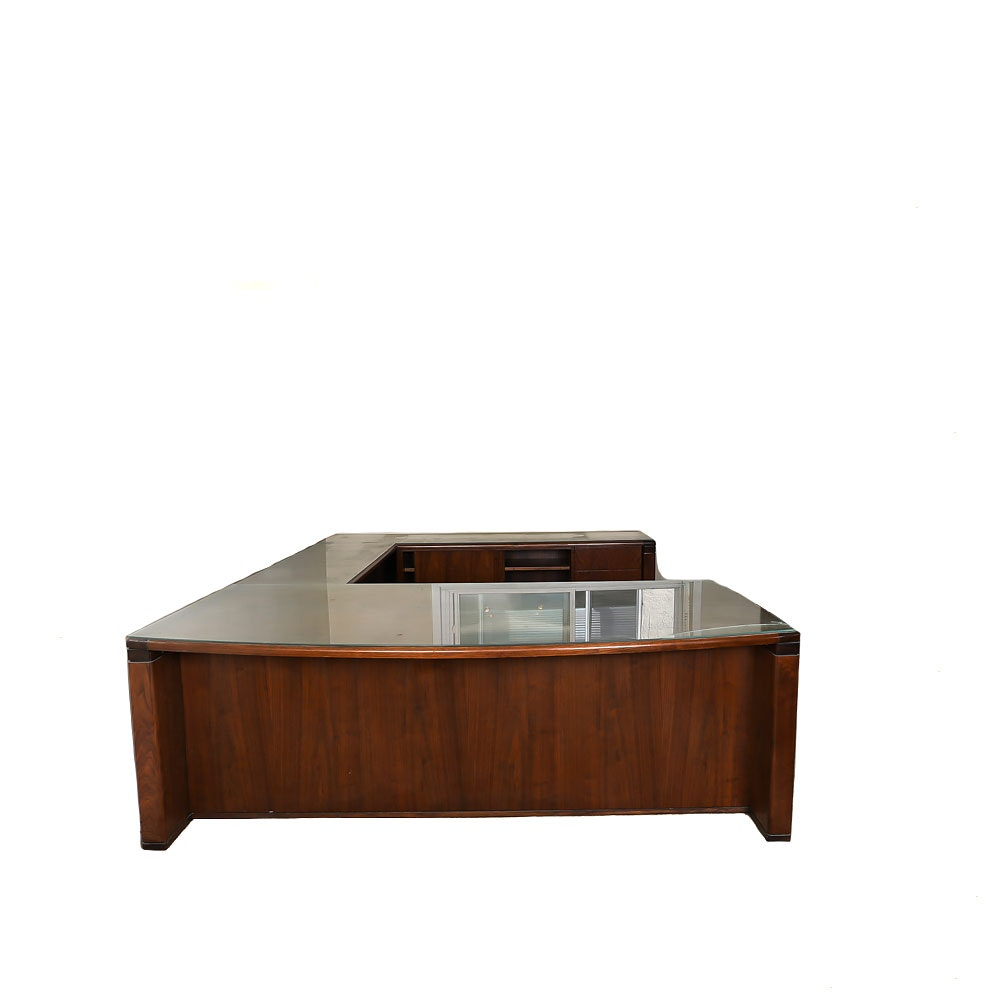 Office Desk Surround with Glass Top Panels