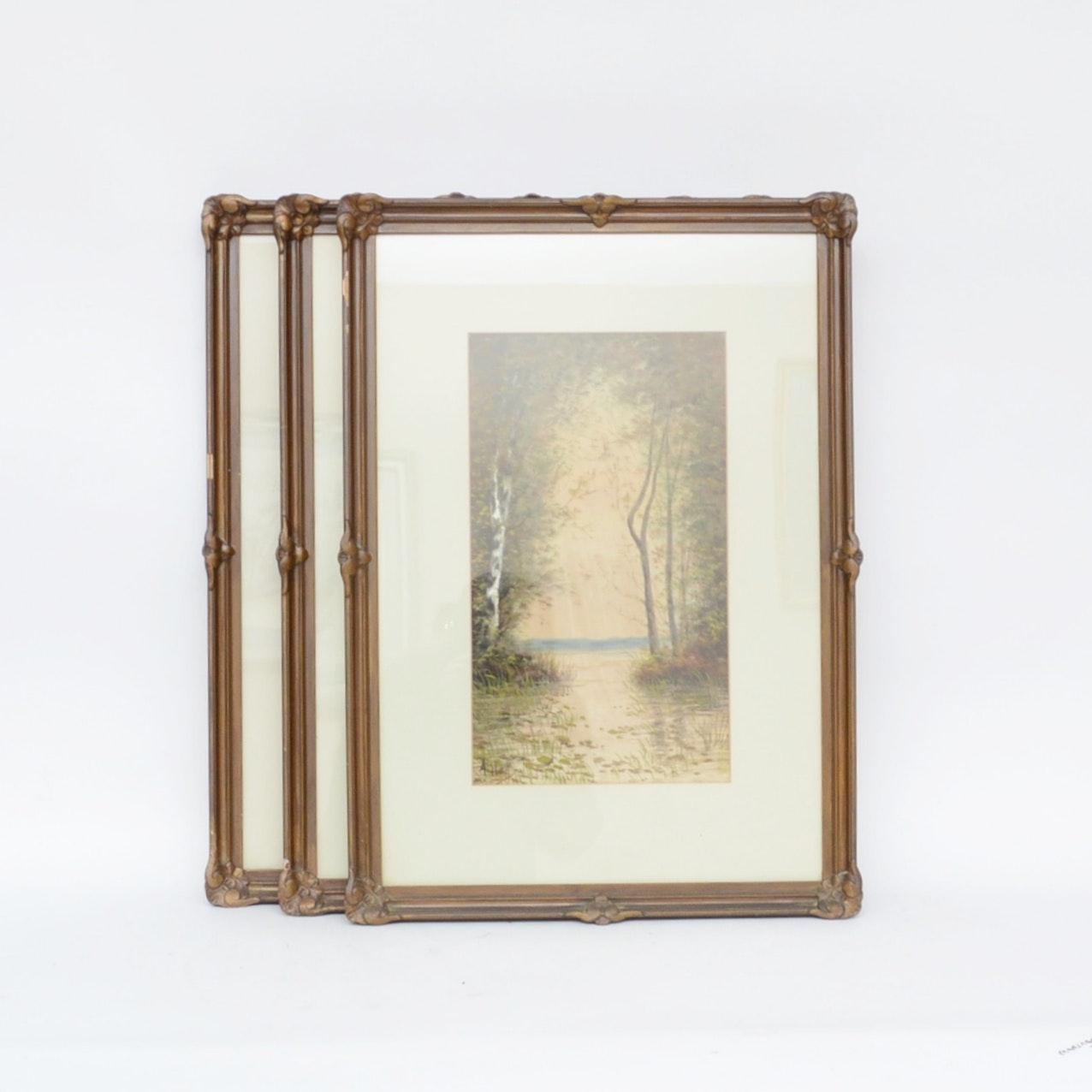 Three Signed Paintings on Silk