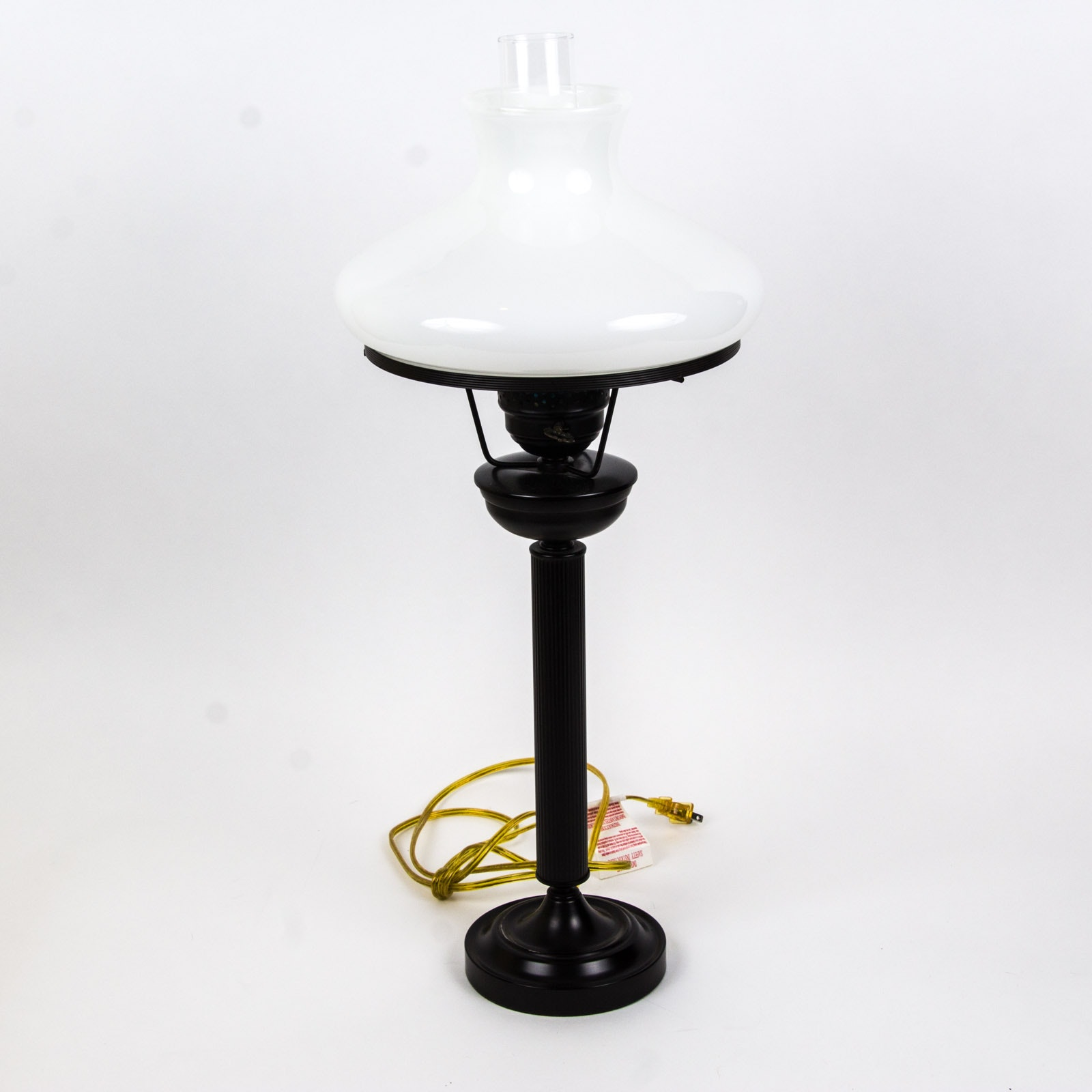 Black And White Milk Glass Table Lamp Ebth